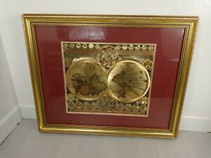 GOLD FOIL A NEW AND ACCVRAT MAP OF THE WORLD FRAMED PICTURE 32x25