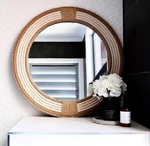 Handmade Round Rope Twisted Bathroom Mirror Hampton Nautical Design Home  80cm