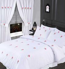 taille SUPER KING lit Floral Blanc Set Housse de couette brodé rose de rose vert