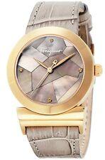 Ferragamo Women's FG2030013 GRANDE MAISON Gold DIAMOND MOP Beige Leather Watch