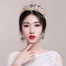 Hot Sale Luxury Pearl Crystal Tiara Jewelry Royal Crown Wedding Party Accessory