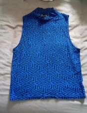 Blue Crop Top High Neck black pattern Republic Size Small