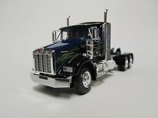 DCP 1/64 SCALE T-800 KENWORTH SMALL BUNK,  BLACK & BLUE, WITH LIME GREEN STRIPE