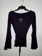 """NWT Parallel """"PAM1JO"""" Black Rayon Blend Long Butterfly Sleeve Belted Top Large"""