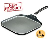 11 Inch Square Pan Griddle Non Stick Aluminum Durable Kitchen Cookware Gray NEW