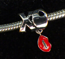 925 SILVER UNBRANDED DANGLE HUGS AND KISSES + RED LIPS  EUROPEAN BEAD CHARM