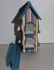Habau 3135 Futterhaus Stripes mit 2 Silos und Ständer, Vogelhaus