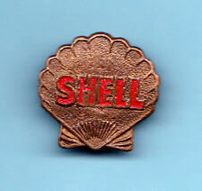 Shell Petrol Badge Old With 3 Stamped on Back 1 inch in Size