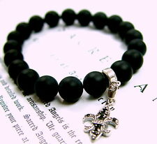 Silver Fleur De Lis Onyx Strech Bracelet With Black  Diamonds by Sacred Angels