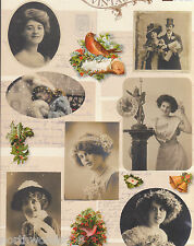 VICTORIAN VINTAGE STYLE LADIES POSTCARD CHRISTMAS CUTOUT PAPER ORNAMENT COLLAGE