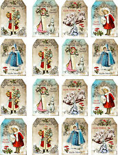 Christmas Vintage Inspired Small Tags Angel Santa Scrapbooking Set 16 W/ribbon
