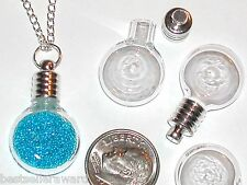 2pc tiny Flat back Round Locket Pendant Glass bottles vial charms beads findings