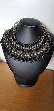 Black And Gold Beaded Chain Statement Necklace Big Jewellery tribal Egypt