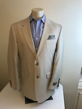 NWT Jos A Bank Suit tropical blend Tan 41R Cotton Wool Blend Flat Front $695