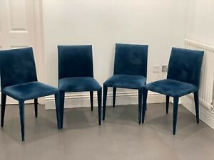 Set of 4 Dwell Blue Velvet Dining Chairs - Great Condition