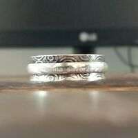 """Size N"""" 925 Silver Meditation Spinner Ring, Anxiety Spinning Wide Band Ring 102"""