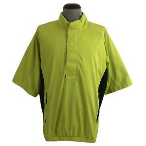 FootJoy DryJoys Mens XL 1/2 Zip Golf Jacket Yellow Black Water Wind Resistant