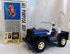 1960's Battery Operated Police Jeep Made In Japan for FE White Co NY w/Box VIDEO