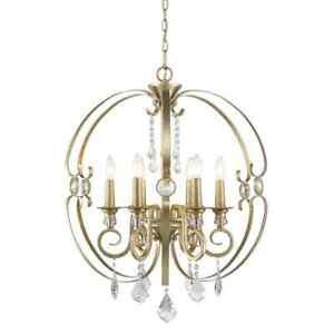 Ella 6-Light White Gold Chandelier by Golden Lighting