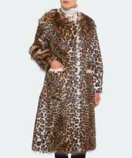 STAND SOFT FAUX FUR ANIMAL / LEOPARD PRINT COAT RETAIL £385 SIZE 8 / 10 BNWT