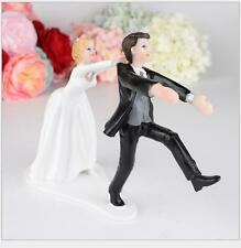 Escape Marriage Funny Bride and Groom Wedding Cake Toppers Resin Figurine Dolls