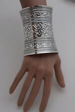 New Women Extra Long Shiny Silver Cuff Bracelet Fashion Metal One Size Filigree