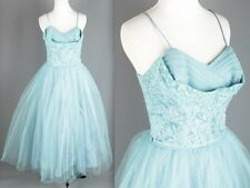 Vtg 50s 60s Teal Tulle & Lace Dress Size S #1562 1950s 1960s Prom Formal AS-IS