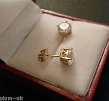 Classic round white sapphires 6.5mm YELLOW GOLD gf stud earrings Plum UK BOXED