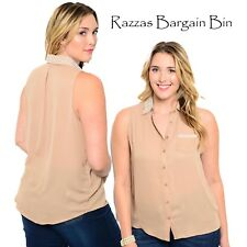 New Ladies Sleeveless Taupe Top With Pearl Collar Plus Size 18/3XL (9841)MC