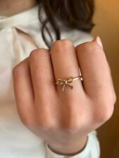 14k Solid Yellow Gold Mini Bow Tie Ring