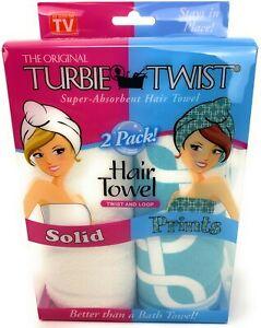 Turbie Twist Microfiber Hair Towel Wraps [2-Pack] - Solid White and Blue Geo