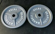 Olympic Weight Plates - Pair - 45 LB Plates - Olympic Barbell 2 inch - Cast Iron