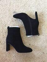 Jeffrey Campbell women's black velvet suede Chapel Curved Heel Bootie sz 8 $170