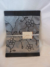 "Palace Silver & Black Floral Buds Fabric Shower Curtain 72"" x 72"" NIP"