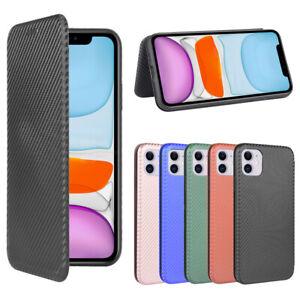 For iPhone 12 Mini 11 Pro Max 6 7 8+ Carbon Fiber Leather Flip Wallet Case Cover
