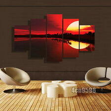 Modern paintings 5 pcs Print On Canvas Home Decor red sunset Unframed #049