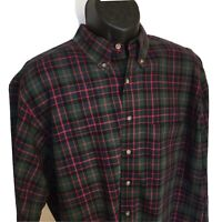 PENDLETON XL Country Traditionals L/S Plaid Shirt Green Blue Red Flannel USA EUC