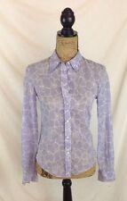 Vintage MICHAEL KORS Pale PURPLE & white FLORAL long sleeve button down shirt, S