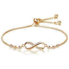 Charm Infinity Love 8 shape Tennis Bracelet Bangle White Sapphire Silver Jewelry