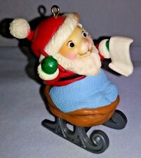 1983 Avon Santa Mouse In Walnut Sleigh Christmas Ornament