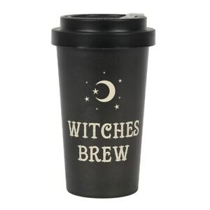 WITCHES BREW ECO FRIENDLY BAMBOO TRAVEL MUG THERMOS COFFEE CUP GOTH WICCAN STARS