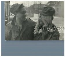 FOUND B&W PHOTO H_7135 TWO SOLDIERS, ONE IN LONG BLONDE HAIR WIG