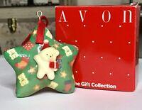 1988 Vintage Avon Gift Collection Christmas Ornament Decoupage Teddy Bear Star