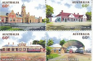Australia 2013 Historical Railway Stations set in block of 4  stamps SG 4072/5
