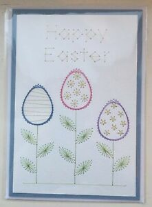"""Handmade Stitched Easter Card - Happy Easter """" Easter Egg Flowers"""