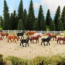 40pcs/80pcs 1:87 Painted Farm Animals Model Horses HO Scale Railway Layout