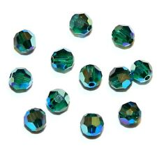 SCR3118f EMERALD AB2X Green 4mm Faceted Round Swarovski Crystal Beads 12/pkg