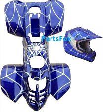Kid ATV Plastic Body Fender 110cc 125 Peace JCL Coolster Blue Spider Free Helmet