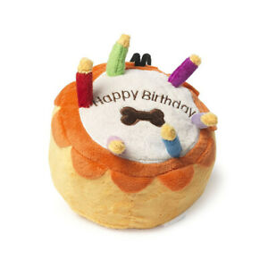 House of Paws Birthday Cake Small Dog Toy | Luxury Present Squeaky Yellow Happy