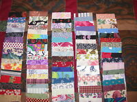 """100% Cotton Assorted Charm Pack Fabric Quilt Squares 125-2"""" Vtg Quilts Crafts"""